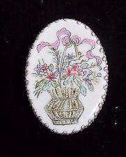 Vintage Chinese Porcelain & Silver Plated Shard Box Trinket Basket of Flowers