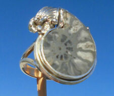 Ammonit pyritisiert aus Marokko Ring Gr. 17 Silber 925
