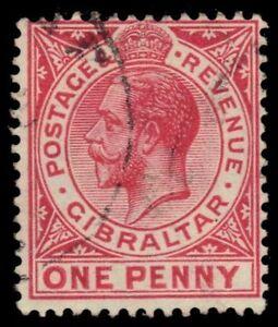 """GIBRALTAR 67a (SG77a) - King George V """"1916 Scarlet"""" (pf5655)"""