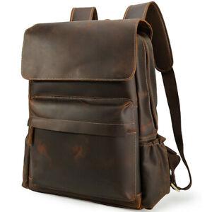 """Men Leather Travel Backpack Day Pack School Bag Business 16"""" Laptop Bag Satchel"""