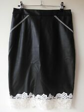 LIPSY LONDON SKIRT faux leather black straight pencil lace knee length UK10 US6