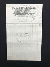 1920 USED BILLHEAD PICKETT HARDWARE CO. WARREN, PA LT99
