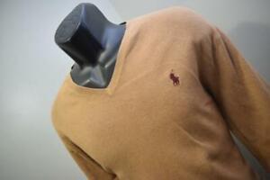 Polo Ralph Lauren Pima V Neck Sweater Light Brown Long Sleeve Mens Size Large