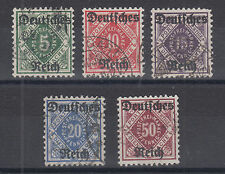 Wurttemberg Sc O59-O63 used 1920 Officials w/ Deutsches Reich overprints cplt