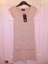 Reduced - New & Tagged AX Paris Knitted Long Top / Dress – Stone Colour – M/L