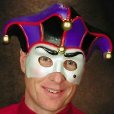 Jester Semi Rigid Plastic Face Mask Mardi Gras
