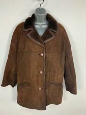 WOMENS CHOCOLATE BROWN CASUAL BUTTON SHEEPSKIN WINTER COAT JACKET PLUS SIZE 18
