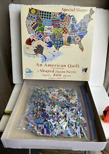 An American Quilt Jigsaw Puzzle USA Map Shaped Sunsout 600 Pieces Complete
