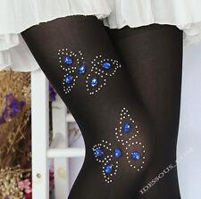 Sexy Muster Strumpfhose mit Zirkonia Schmuck verziert Blau Spitze Strass XS S M