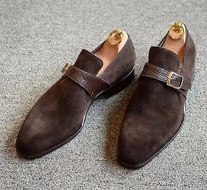 Handmade Mens formal Brown suede monk shoes, Brown suede buckle dress shoes
