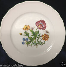 "TIRSCHENREUTH SMCS MULTICOLORED FLOWERS GREEN TRIM FLORAL BOTANICAL 7"" PLATE"