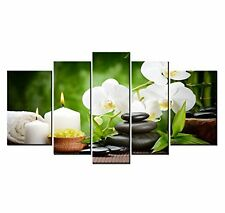 Spa with Bamboo and Plumeria Canvas Print Wall Art Flower Picture Painting Decor