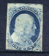 US Stamps - #9 - USED - 1 cent Franklin Imperf Issue - CV $90