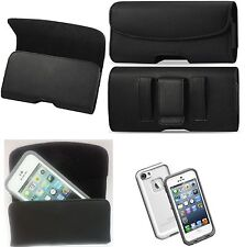 FOR IPHONE 5/5S/5C BELT CLIP HOLSTER LEATHER POUCH FIT A LIFEPROOF CASE ON PHONE