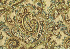 Mill Creek  Fabric Paisly Brown Aqua Gold Drapery Upholstery