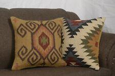 2 set of Wool Jute Cushion Cover Throw Indian Vintage Handmade Kilim Rug 8187-A
