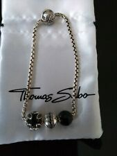 Thomas Sabo Karma Charm Bracelet With Lotus Bead, Obsidian, Silver Beads NWOT