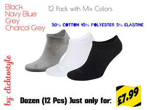 3 PAIRS MENS BNG COLOR BREATHABLE QUALITY TRAINER LINER ANKLE SOCKS UK SIZE6-11