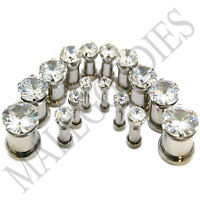 """V076 Screw-on / fit Clear Solid CZ Prongs Ear Plugs Retainers 8G 3mm ~ 5/8"""" 16mm"""