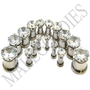 """V076 Screw-on/fit Solid Clear CZ Prongs Retainers Ear Plugs 8G - 5/8"""" Earrings"""