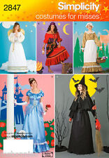 Miss' Princess Pioneer Angel Gypsy Witch Costume Simplicity 2847 Sewing Pattern