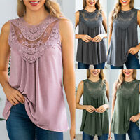 Summer Casual Blouse Women Lace Vest Top Sleeveless Tee T-Shirt Slim Tank Tops