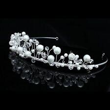 Bridal Flower Rhinestones Crystal Beads Pearls Wedding Crown Tiara 8776