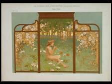 SOIR D'ETE, ART NOUVEAU -1900- LITHOGRAPHIE, FLUTE, PAYSAGE