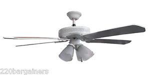 """Sakura 52"""" 220-240 Volt Ceiling Fan 220/240V White 5 Blades 4 Lights 3 Speed"""