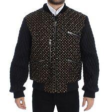 NWT $29200 DOLCE & GABBANA Black Sequined Goatskin Jacket Coat EU48 /US38 / M