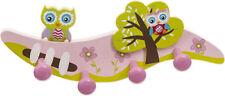 Bieco Kindergarderobe Eule mit 4 Haken, ca. 28 cm, bunt lackiert, Kinderzimmer