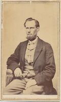 1860s CDV Antique Photo Civil War tax Stamp Gent w/ Curtain Beard Kalamazoo, MI