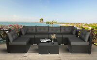 7 PC Outdoor Patio Garden Furniture Sectional Sofa Set Rattan with Table Grey
