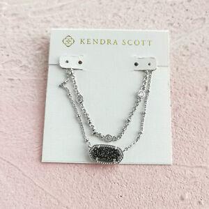 Kendra Scott Elisa Platinum Drusy Silver Multi Strand Necklace AUTHENTIC NEW