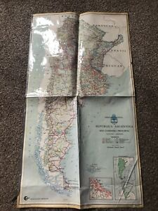 Vintage Laminated Map Of Argentina