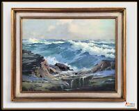 Estate Art 50s Seascape Sea Framed Oil Painting by Orrin Draver - Rough Weather