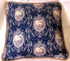 Provence French Country Cottage Toile Beige and Blue Pillow Paris Farm Cameo