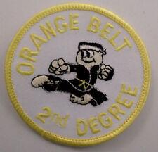 Martial Arts Embroidered Sew On Uniform Patch Orange Belt 2Nd Degree