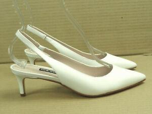 Nine West Women's Feliks White Leather Slingback Pump Size 7.5
