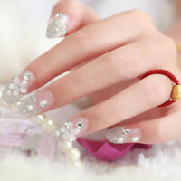 Transparent Small Flower  Fake Nails Tips Flower Decorated for Women Girls l