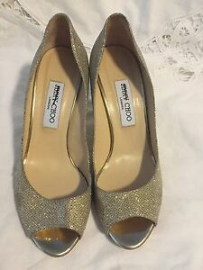 Jimmy Choo Gold Wedge With Open Toes
