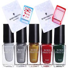 9Pcs Set 5x Born Pretty Christmas Nail Art Stamping Polish 2x Stamper & Scrapers