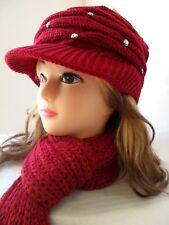 Lady Women Knit Winter Warm Hat Scarf Set Baggy Beret Beanie Cap Set