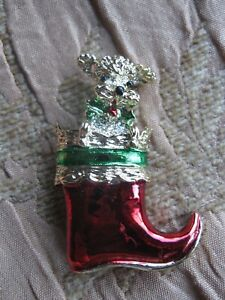 """VINTAGE GERRY'S ENAMELED SANTA'S BOOT PIN WITH DOG PEEKING OUT VERY CUTE 1.75"""" T"""