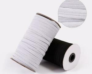 FLAT BRAIDED ELASTIC - SEWING/CRAFT/MASKS - 4/6/8/ CORD - WHITE/BLACK