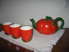 Vintage 1950's Maruhon Ware Tomato or Pumpkin Shaped Teapot & 3 Teacups Japan