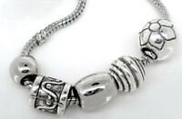 50 PCs Mixed Silver Tone Acrylic Spacers Beads Fit Charm Bracelet