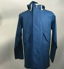 NWOT Elka Regntoj BLÅVAND Slate Blue Raincoat Hooded Zip Jacket Rubber Mens Sz M