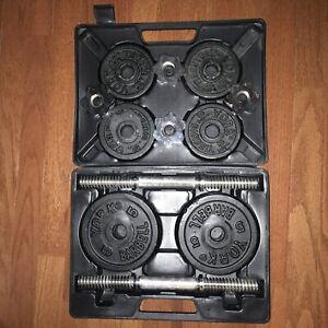 YORK 40LB Adjustable Dumbell Set ITEM NO.140140 20 lb set case box weightlift