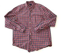J Crew Red Plaid Striped Button Down Casual Formal Mens Shirt Size XL